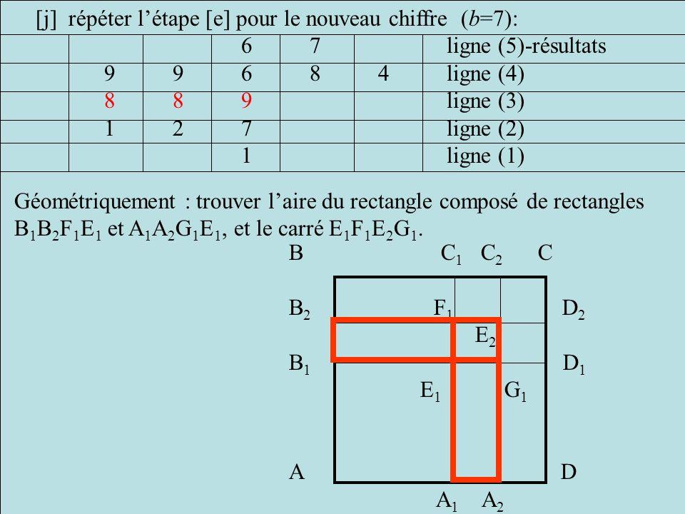 [j] répéter l'étape [e] pour le nouveau chiffre (b=7):